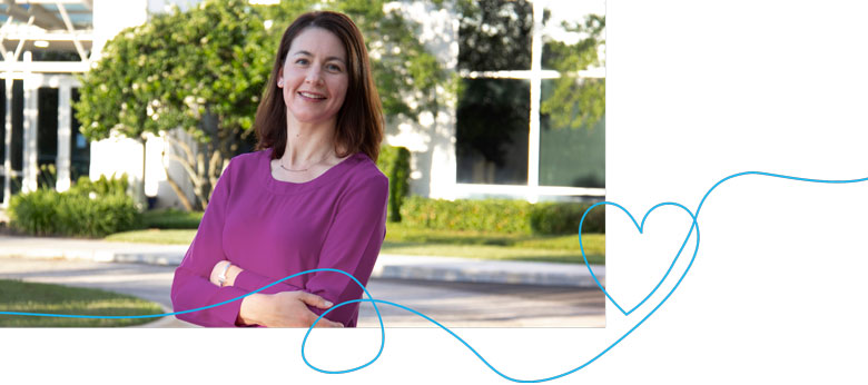 Photo of Human Resources vice president Jennifer Palhete with a doodle of a heart.