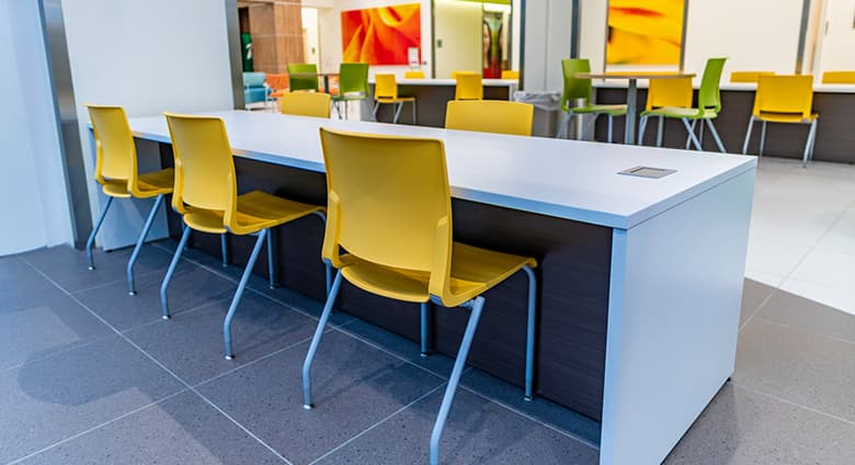 Dining area for families in Nemours children's clinic in Jacksonville Florida.