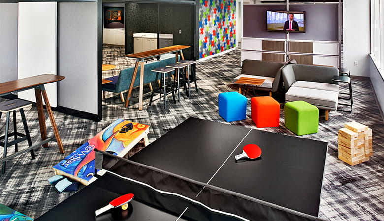 The Vystar Tower Game Room with Ping-Pong Table in Jacksonville Florida.