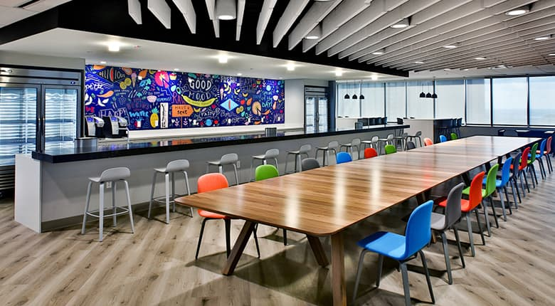 The Vystar tower large conference table and coffee bar in Jacksonville, Florida.