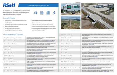 Examples of shovel ready transportation projects from RSandH's portfolio.