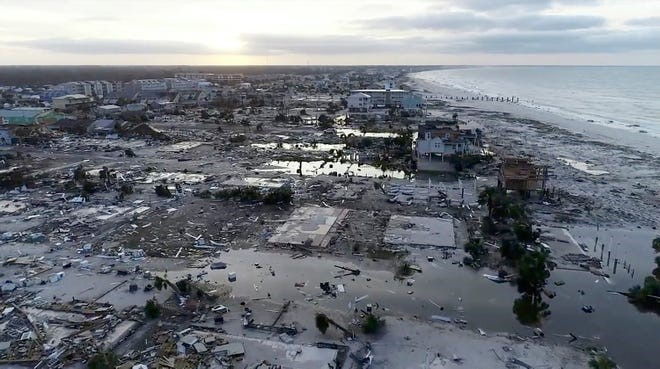 Tyndall Air Force Base destruction after Hurricane Michael.
