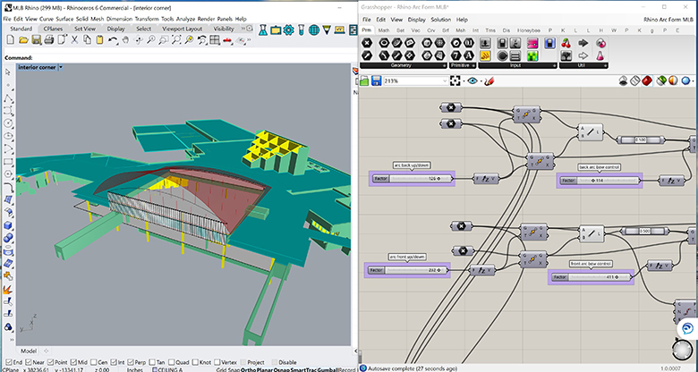 Screenshot of digital tools, Rhino and Grasshopper used for architectural design.