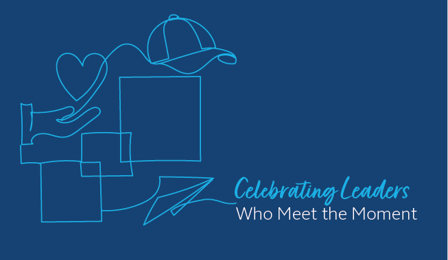 A heart held in hands, a hat and paper airplane graphic depiction for the AEC leaders who meet the moment in the annual awards.