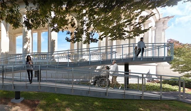 A graphic representation of the inclusive designed wheelchair ramp at the site of the historic Arlington National Cemetery.