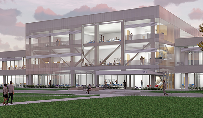 Three story rendering of the Johnson Space Center EA Directorate with Facility Study.
