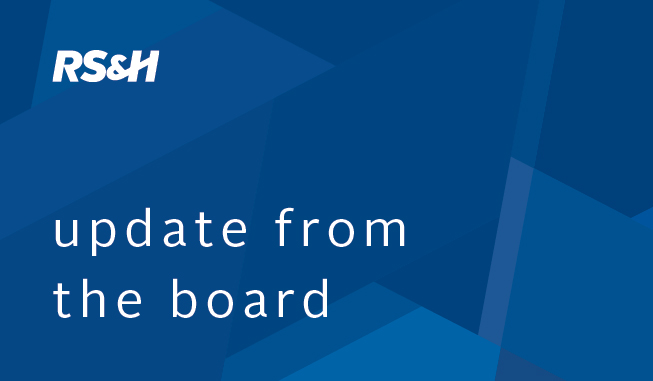 Update from RS&H's board of directors on the retirement of Leerie Jenkins and Joe Debs.