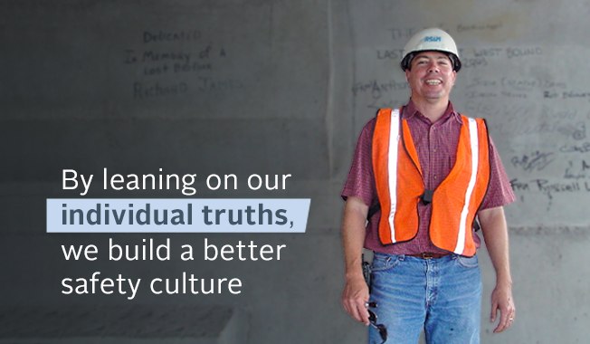 Graphic image of Doug Geiger in construction gear with quote talking about individual truths creating a better safety culture.