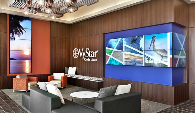 The corporate lobby of the Vystar credit union HQ tower building in Jacksonville, Florida.