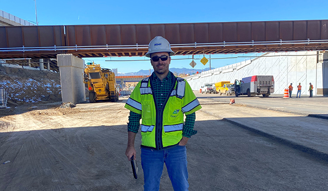 RS&H's urban project manager Zach Gill at an interstate construction site.