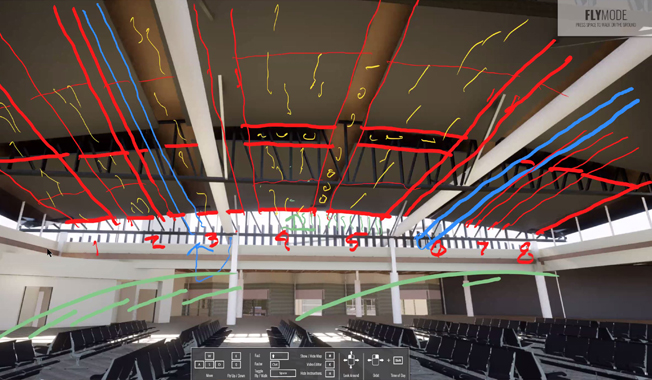 Airport terminal gate with red and blue sketching by architects on ceiling.